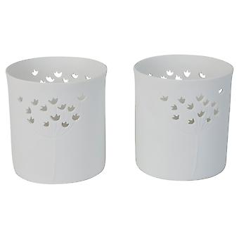 Set of 2 White Porcelain Floral Tealight Candle Holders for the Home
