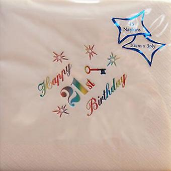 Luxury Happy 21st birthday party tableware decorations Napkins