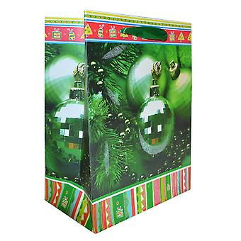 6 Pack of Green Christmas Gift Paper Bags Small Size