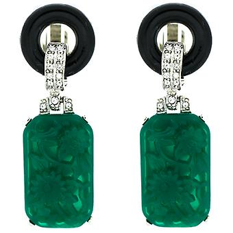 Kenneth Jay Lane Crystal & Rectangular Jade Clip On Earrings