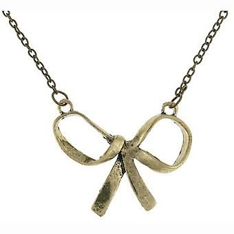 Large Bronze Hammered Bow Pendant Necklace