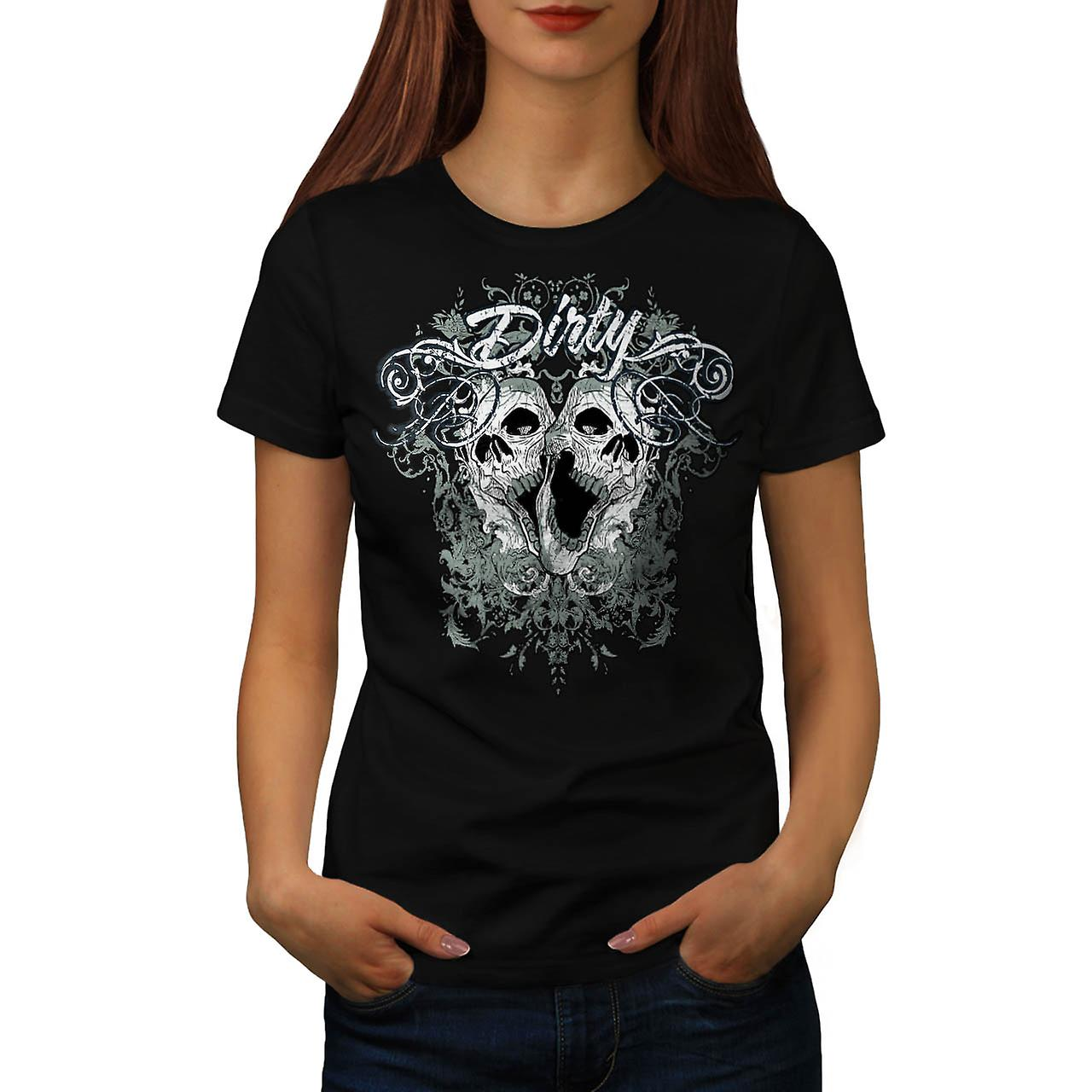 Dirty Evil Grave Yard Dead Skull Women Black T-shirt | Wellcoda