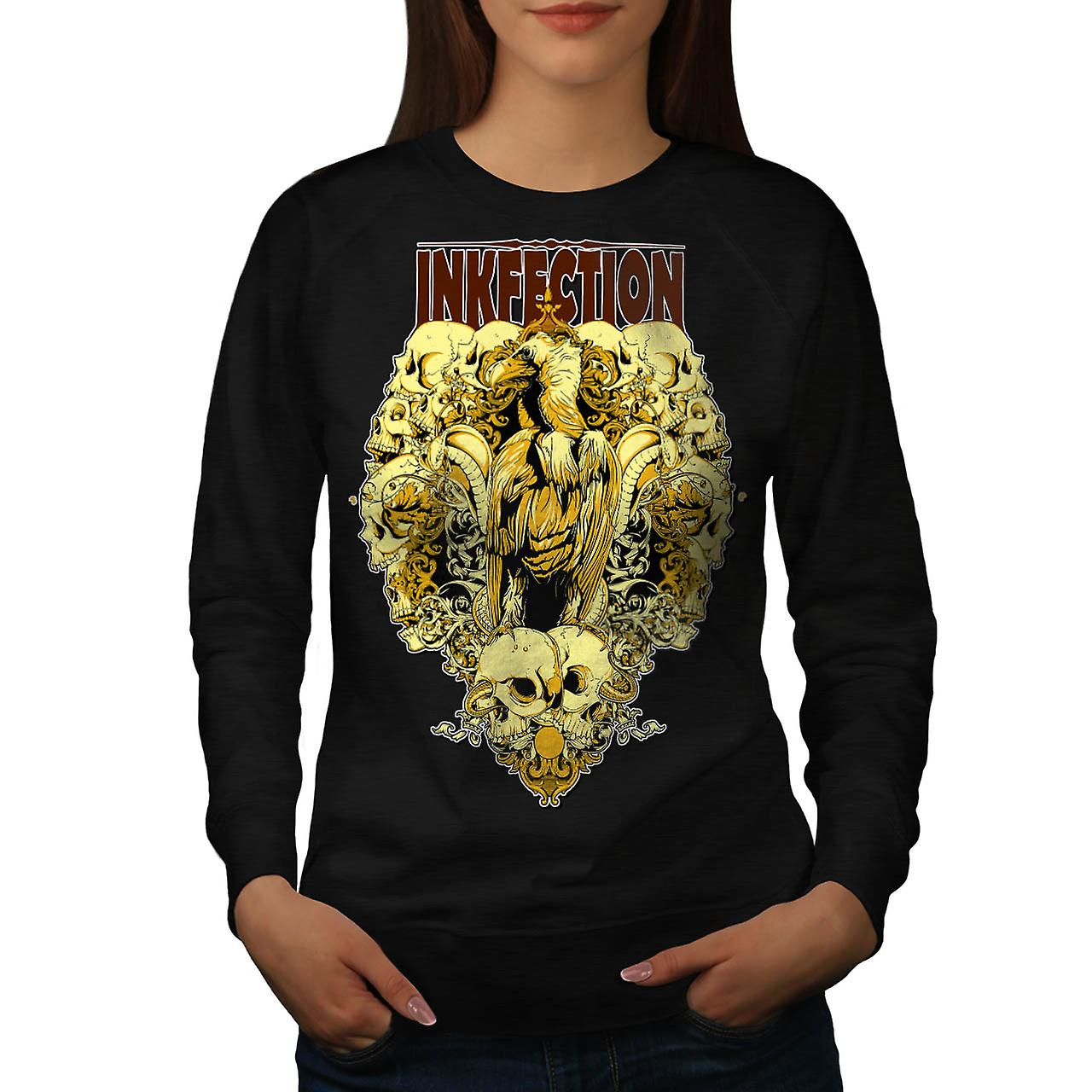 D'encre Infection Eagle crâne malédiction femmes Black Sweatshirt | Wellcoda