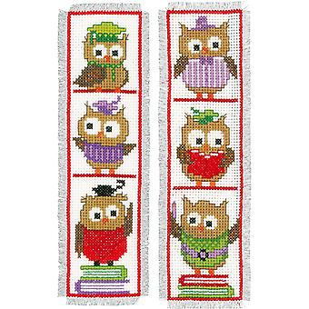 Clever Owls Bookmarks On Aida Counted Cross Stitch Kit-2.5