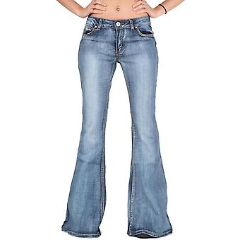 Faded Bell-Bottom Wide Flared Jeans - Blue