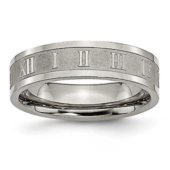 Titanium Engravable poleret og satin romertal 6mm Satin og poleret Band Ring - ringstørrelse: 6-13