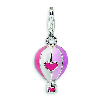 Sterling Silver 3-D Enameled Hot Air Balloon With Lobster Clasp Charm - 3.1 Grams - Measures 28x11mm