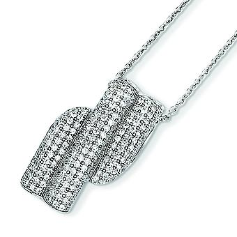 Sterling Silver Rhodium-plated Lobster Claw Closure and Cubic Zirconia Brilliant Embers Necklace - 18 Inch