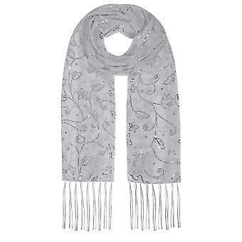 Grå & sølv folie Floral Print skimmer skjerf