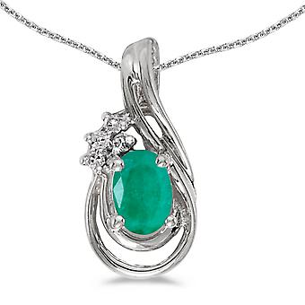10k White Gold Oval Emerald And Diamond Teardrop Pendant with 18