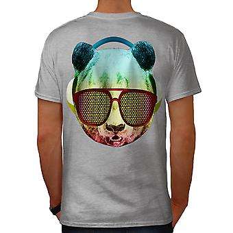 Music Fan Panda Bear Men Grey T-shirt Back | Wellcoda