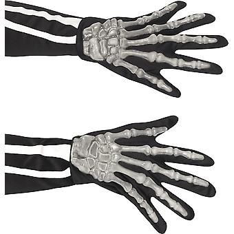 Smiffys Adult Skeleton Gloves Bones Fancy Dress Costume Halloween Reaper Death