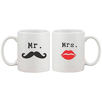 Mr Mustache and Mrs Lips Couple Mugs - His and Hers Matching Coffee Mug Cup Set - Perfect Valentines Day Gift for Couple