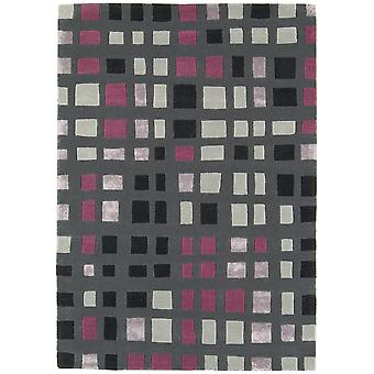 Matrix Grey  Pink Wool & Viscose Geometric Rug
