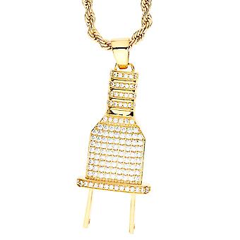 Iced out bling micro pave necklace - gold plug