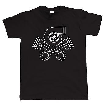 Turbo Skull and Crossbones, Mens Auto Tuning T Shirt