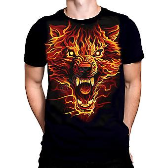 Liquid Blue - FIRE WOLF - Short Sleeve T-Shirt  - Black