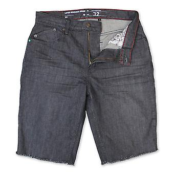 Lrg Monochrome True Straight Denim Walk Shorts Grey Crinkle Wash