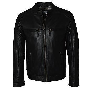 Ashwood Black Leather Mens Biker Jacket