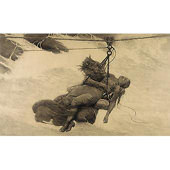 Winslow Homer - Saved (etching) Poster Print Giclee