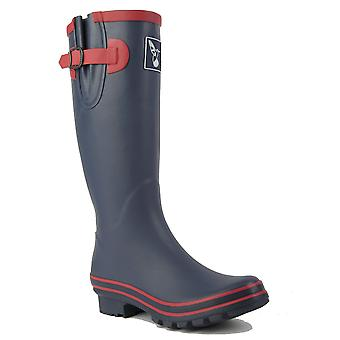 Evercreatures Ladies Rubber Wellies Raspnavy Red Trimming - Various Sizes