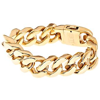 Iced Out Bling Edelstahl Armband - SOLID CURB 20mm gold