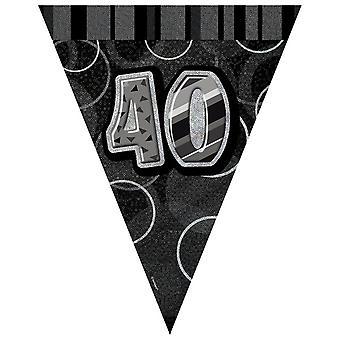 Unieke Party zwart zilver 40 Glitz Pennant Bunting
