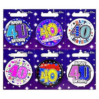 Simon Elvin 40th Birthday Small Badge (Pack Of 6)