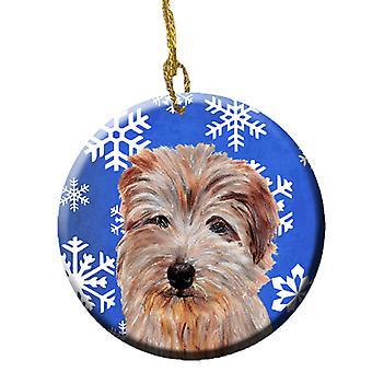 Norfolk Terrier Winter Snowflakes Ceramic Ornament