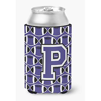 Letter P Football Purple and White Can or Bottle Hugger