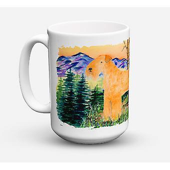 Lakeland Terrier diskmaskin säkra mikrovågssäker keramisk kaffe Mugg 15 uns