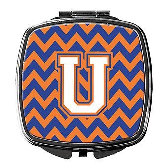Letter U Chevron Blue and Orange #3 Compact Mirror