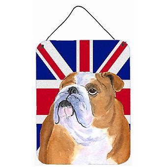 البلدغ الإنجليزية مع اللغة الإنجليزية الاتحاد جاك العلم البريطاني الجدار أو الباب معلقة يطبع