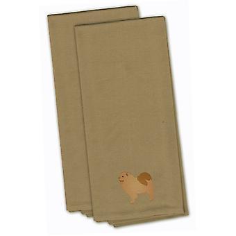 Chow-Chow Tan bordado conjunto de toalha de cozinha de 2