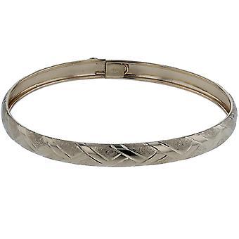 "10k Yellow Gold bangle bracelet Flexible Round with Diamond Cut Design (0.24"")"