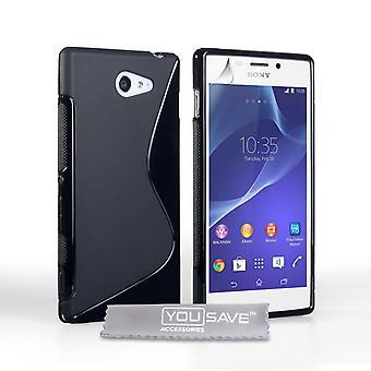 Caseflex Sony Xperia M2 силиконовый гель S-Line корпуса - черный
