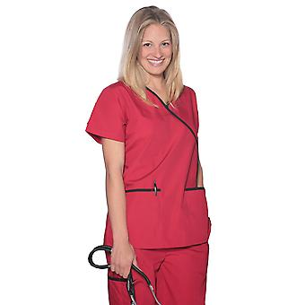 Women's Unique Contrast Mock Wrap Medical Scrubs