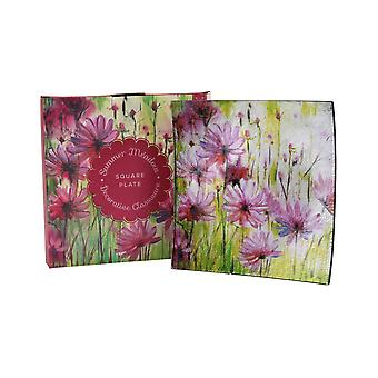 CGB Giftware Summer Meadow Square Glass Plate
