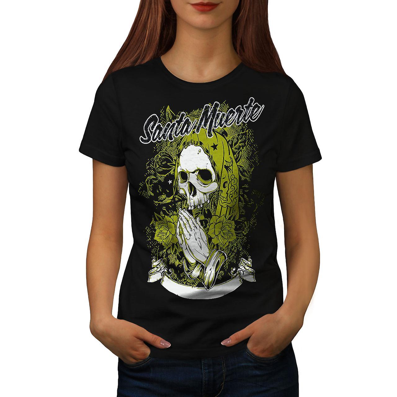 Santa Muerte Skull Women Black T-shirt | Wellcoda