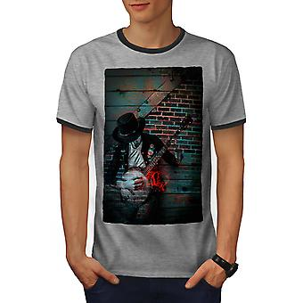 Street Art Graffiti Men Heather Grey / Heather Dark GreyRinger T-shirt   Wellcoda