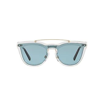 Valentino Keyhole Double Lens Sunglasses In Transparent Blue