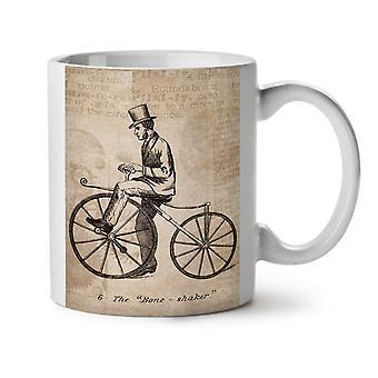 Mann auf dem Fahrrad neue weiße Tee Kaffee Keramik Becher 11 oz   Wellcoda