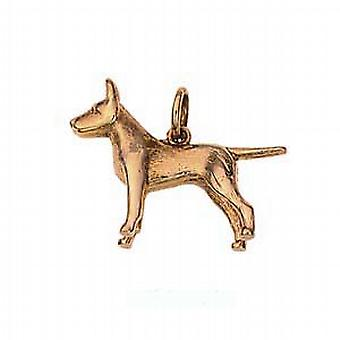 9ct Gold 19x25mm Staffordshire Bull terrier Pendant or Charm