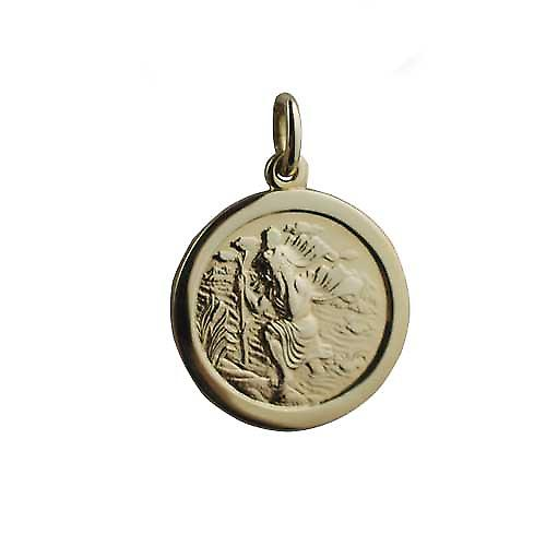 18ct Gold 20mm round St Christopher Pendant
