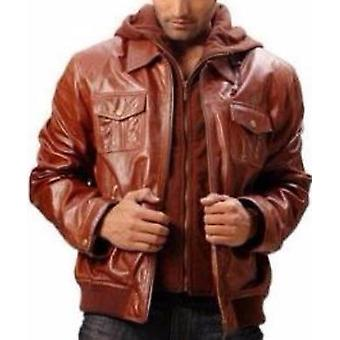Mens Camelon Brown Bomber Leather Jacket