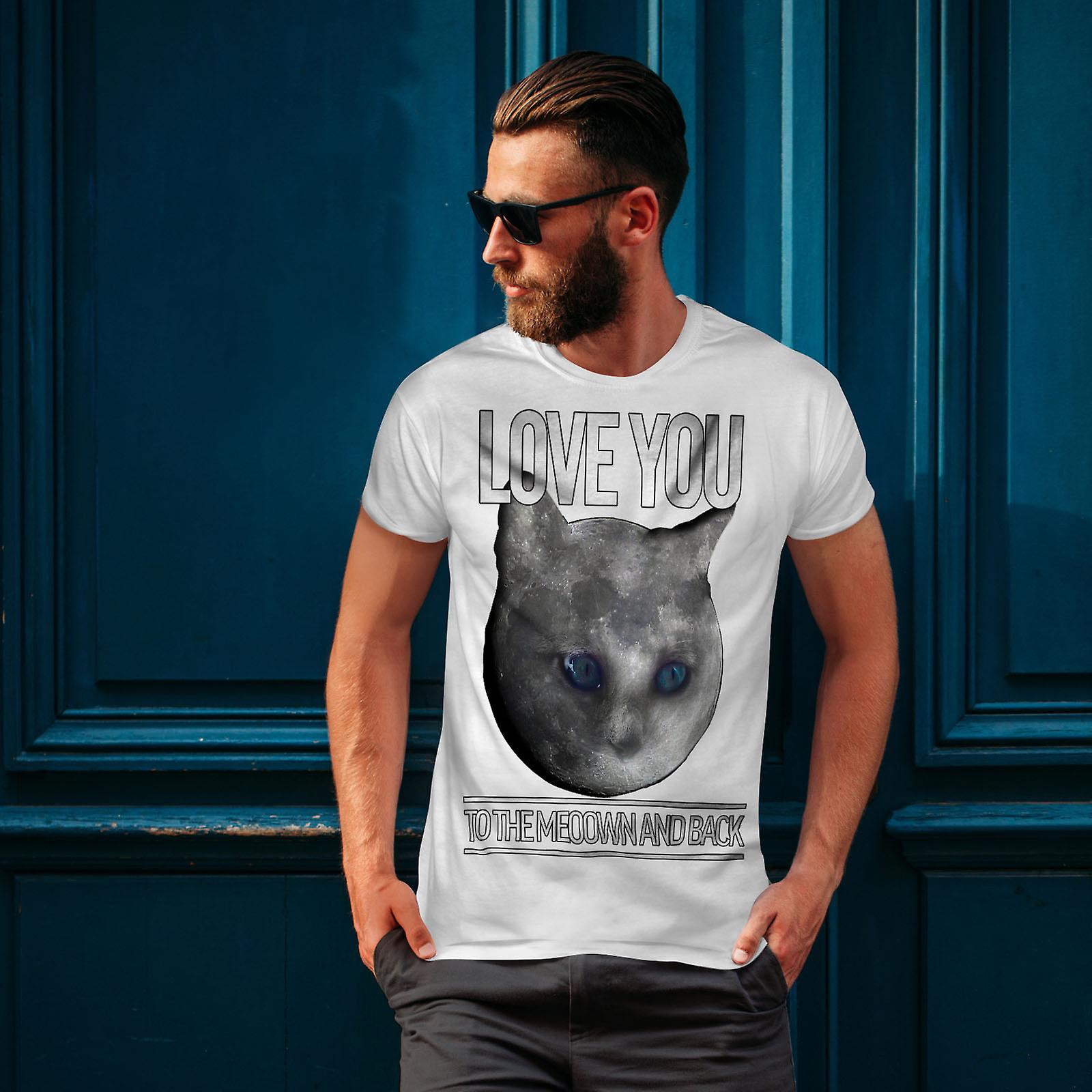 Moon Cute Adorable Cat Men White T-shirt | Wellcoda