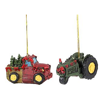 Røde gård lastbil med træer og grønne traktor Christmas Holiday smykker sæt med 2