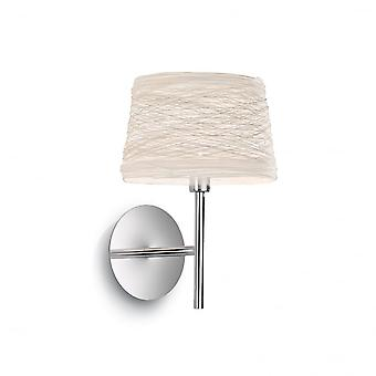 Ideal Lux Single Matt White Wall Light With White Wicker Shade