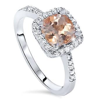1 1/2ct Morganite Cushion Halo Diamond Engagement Ring 14K White Gold