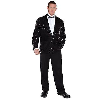 Paillet sort jakke Michael Jackson 1950s 1970s Disco Pimp Jazz mænd kostume OS